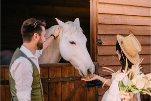 stylish newlyweds hugging near horse