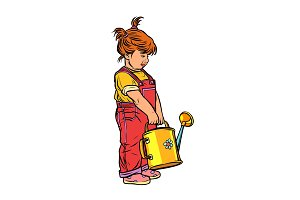 little girl with a garden watering
