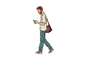 Bearded male pedestrian looks at a