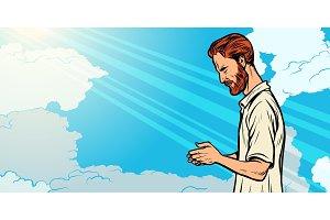 prayer man, religion and faith