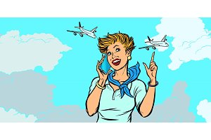 woman stewardess with phone, sky and