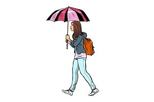 teen girl with umbrella