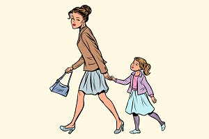 mother and daughter are walking