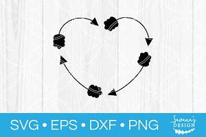 Heart Arrow Monogram SVG