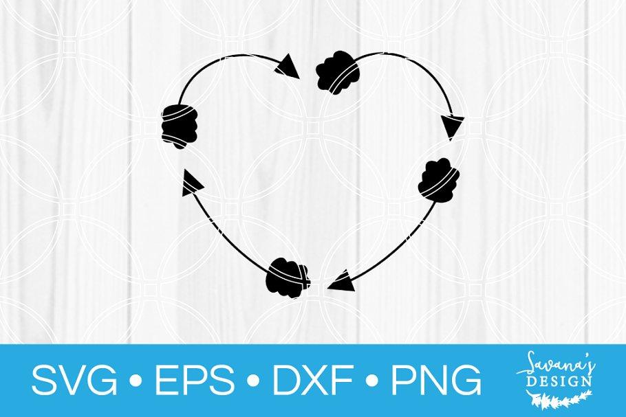 Heart Arrow Circle Monogram Svg Pre Designed Photoshop Graphics Creative Market
