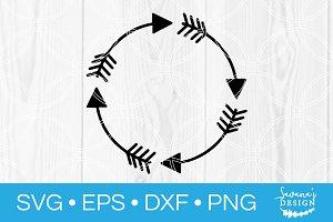Arrow Round Frame Monogram SVG