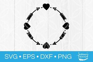 Heart Arrow Circle Monogram SVG