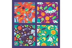 Space seamless pattern. Planets