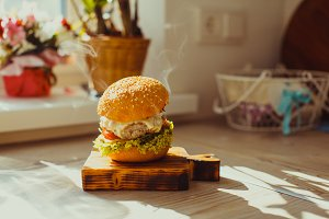 Tasty grilled homemade beef burger