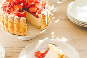 French Fresh Strawberry charlotte