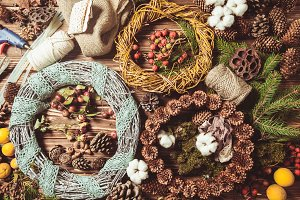 Nature wreath making top view on the