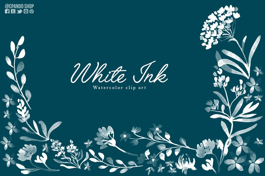 White ink watercolor flowers clipart