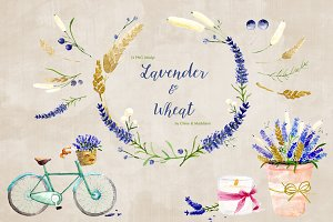 Lavender & Wheat Floral Elements