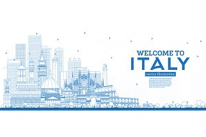 Outline Welcome to Italy Skyline