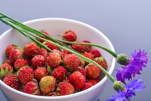 Forest strawberries in a white bowl