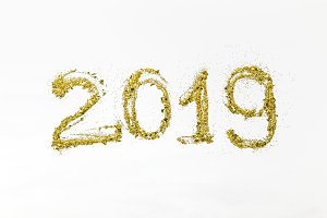 golden glittering 2019 numbers on wh