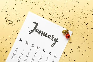 top view of january calendar and chr