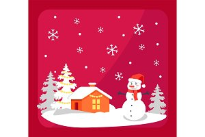 Smiling Snowman and House Vector