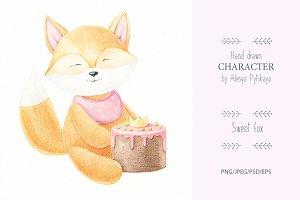 Fox with cake - hand drawn illustrat