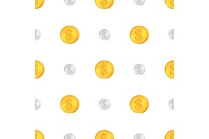 Golden and Silver Coins with Dollar