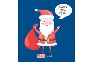 Happy New Year Santa Claus Vector
