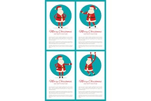 Merry Christmas Santa Set Vector
