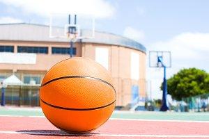 ball in basketball field