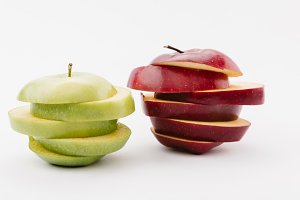 sliced golden and red delicious appl