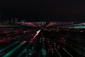 night cityscape with defocused bokeh