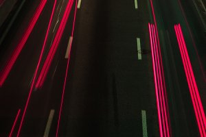 long exposure of road and red lights