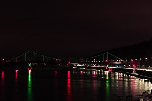 illuminated bridge with colorful lig