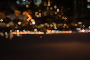 defocused background at night with b