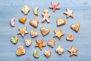 Gingerbread cookies on blue table