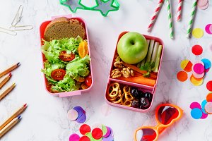 Lunch box with healthy food