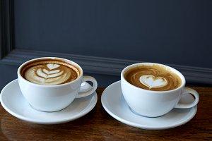 two cups of coffee in valentine's da