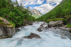 Flowing rapid mountain river