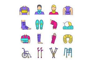 Trauma treatment color icons set