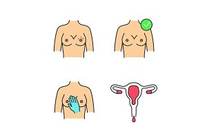 Gynecology color icons set