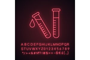 Laboratory test neon light icon