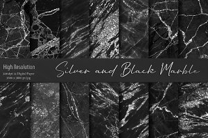 Silver and Black Marble Textures