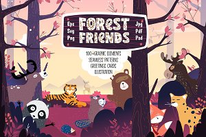 Forest Friends: patterns, cards