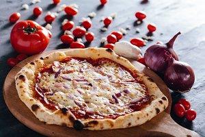 Pizza with salami, mozzarella and re
