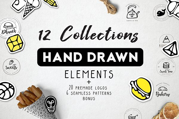 Logo Templates: Octopus - Hand drawn elements & logo Bundle