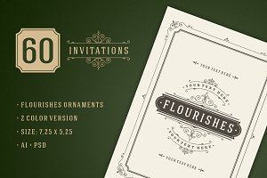 60 Vintage ornament invitations