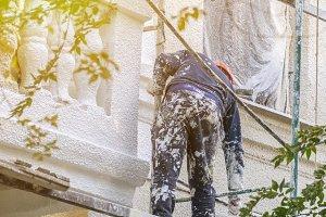 street worker repair the building fa