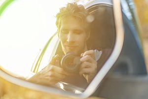 young driver taking a self portrait