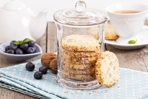 Walnut cookies with a cup of tea