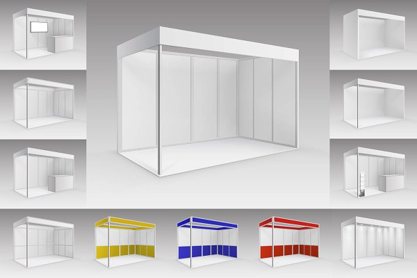 Exhibition Stand Mockup Psd Free : Trade exhibition stands set psd mockup free psd mockup template