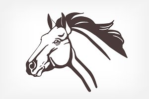Monochrome horse illustration