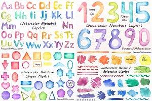 Big Set of Watercolor Rainbow shapes
